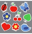 Set og elements for scrapbooking bird flower heart vector