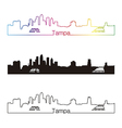Tampa skyline linear style with rainbow vector