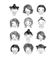 Set of cute girl characters cartoon for your vector