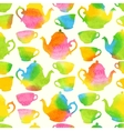Seamless pattern with watercolor cups and teapots vector
