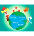 Picture of earth with lighthouse vector