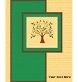 Card with a tree on wooden background vector