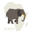Simple of elephant on background africa map vector
