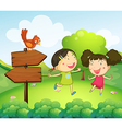 Two girls playing beside the two arrow boards vector