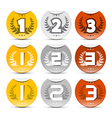 Gold silver bronze labels set vector