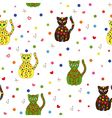 Seamless with different stylized cats vector