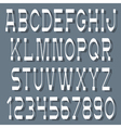 White alphabet letters and numbers with shadow vector