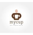 Abstract man with coffe cup logo icon concept vector