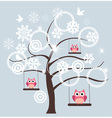 Tree snow owl vector