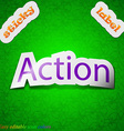 Action icon sign symbol chic colored sticky label vector