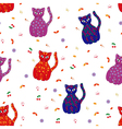 Seamless with various stylized cats vector