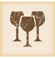 Grungy wine glass icon vector