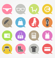 Shopping web icons set in color speech clouds vector