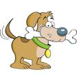 Cartoon dog with a bone vector