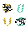 Thank you hand lettered signs with olive branch vector