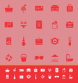 Summer color icons on red background vector