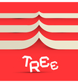 Paper tree symbol on red background vector