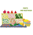 Fruits and vegetables market counter vector