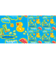Seamless pattern with rubber duck and boots vector