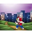 A hiphop dancer near the tall buildings vector