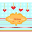 Valentines card with red hearts vector
