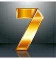 Number metal gold ribbon - 7 - seven vector