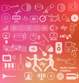 Musical icons - symbols on blurred background vector