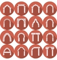Flat icons collection of arch silhouette vector