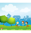 Three kids playing soccer in the hill vector