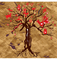 Mystic tree on the paper texture with symbols vector