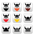 Viking warrior in helmet buttons set vector