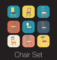Chair icon set symbol furniture vector