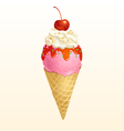 Ice cream cone strawberry vector