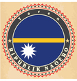 Vintage label cards of nauru flag vector
