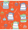 Tea seamless pattern wih cups and pots vector