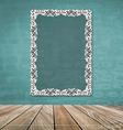 Vintage frame on brick wall vector