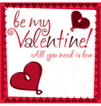 Heart valentines day card in format vector