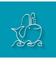 Cute whale on wave vector