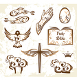 Set of decorative holy easter elements vector