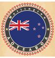 Vintage label cards of new zealand flag vector