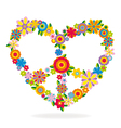 Peace heart sign made of flowers vector