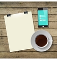 Coffee cup with abstract tablet vector