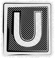 Polka dot font letter u vector
