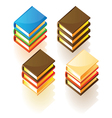 Isometric icons of stacked books vector
