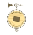 Vintage label wyoming vector