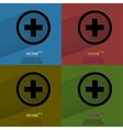 Color set plus flat modern web button with long vector