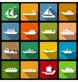 Ship and boats icons set flat vector