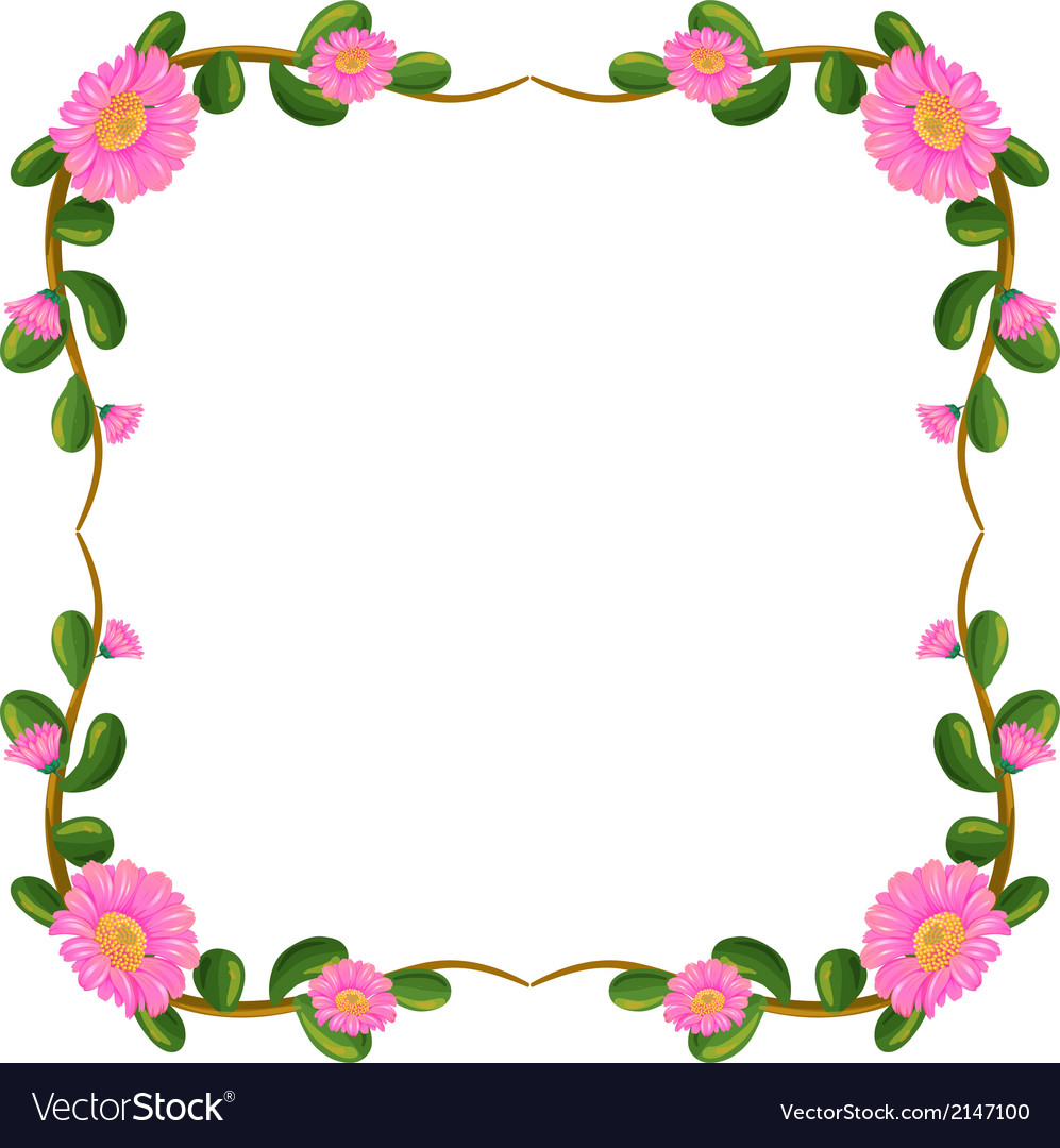 A floral border with pink flowers vector | Price: 1 Credit (USD $1)