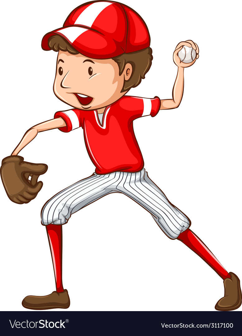 A male baseball player vector | Price: 1 Credit (USD $1)