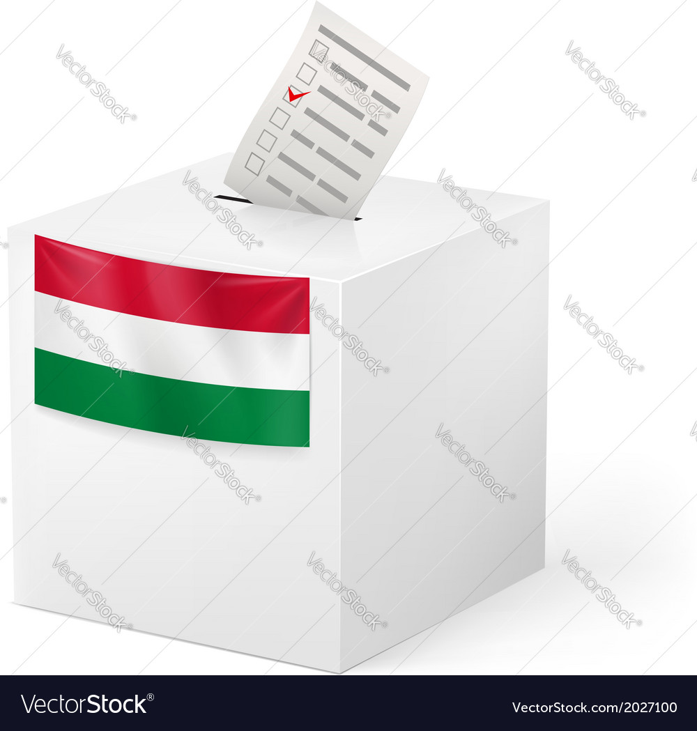 Ballot box with voting paper hungary vector | Price: 1 Credit (USD $1)